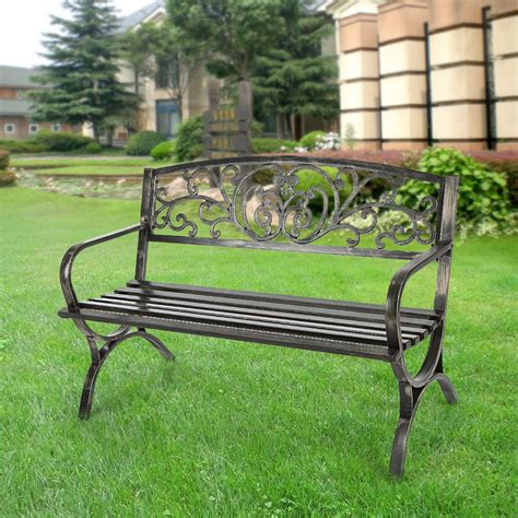 outdoor park bench black ikayaa 50 quot 3 seater iron patio garden park bench