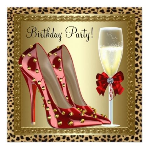 High Birthday Card Template by Leopard Print Heel Invitation Free Template