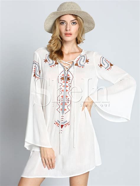 Sleeve Embroidery Dress white sleeve tribal embroidered dress shein sheinside