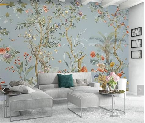 flower bird wallpaper mural floral wall mural  print