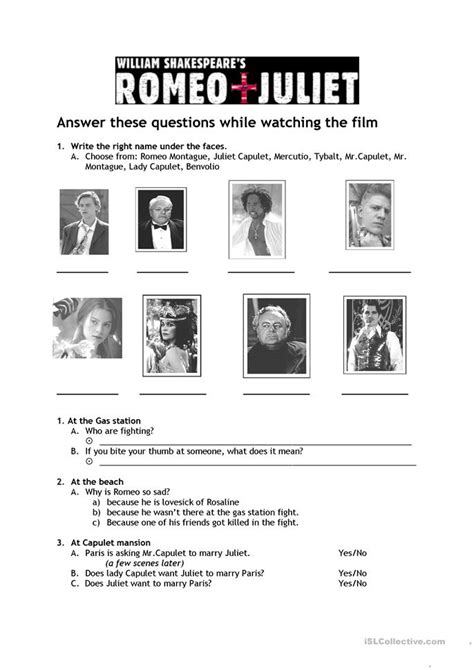 Romeo And Juliet Worksheets by 11 Free Esl Juliet Worksheets
