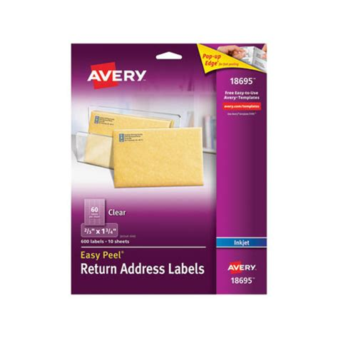 clear printable address labels avery clear easy peel return address labels ave18695