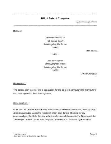 free computer bill of sale (new zealand) legal templates