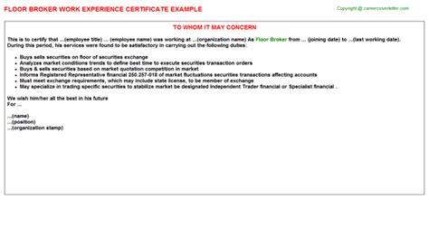 Floor Broker Cover Letter by Floor Housekeeper Work Experience Certificates