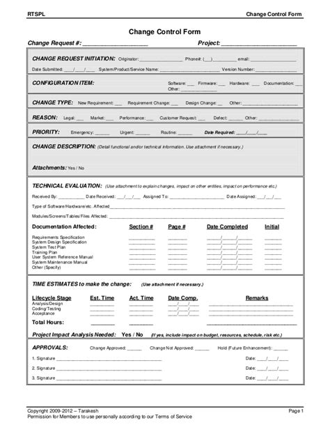 prince2 change request template change form