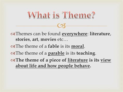 themes used in stories theme and symbolism