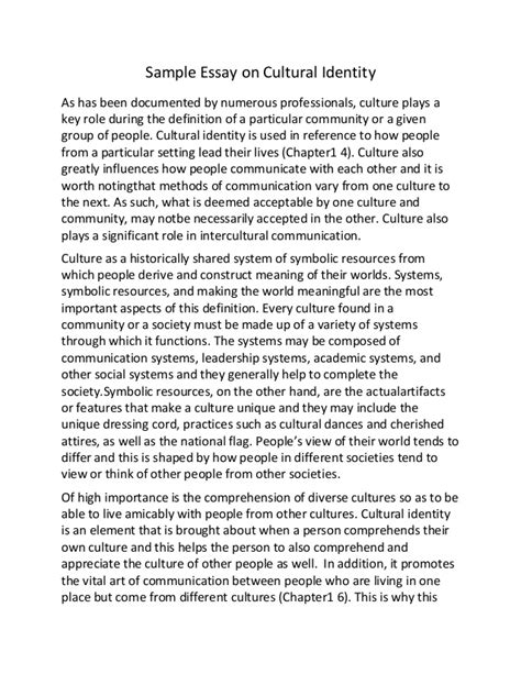 Culture Of Essay sle essay on cultural identity