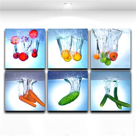 colorful kitchen wall art with fake fruits walls kitchens and modern wall art painting fruit and vegetable kitchen