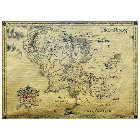 lord of the rings maps official lord of the rings middle earth parchment map