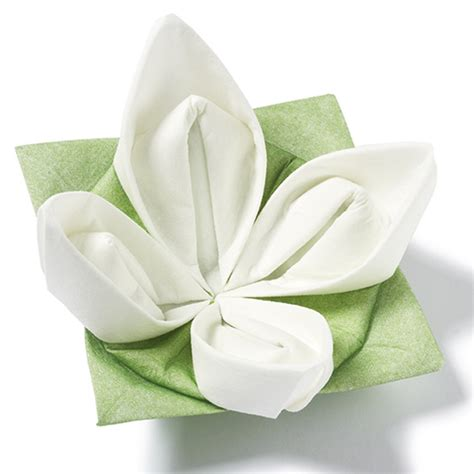 Origami Napkins - seerose origami dinner napkins green white 40cm