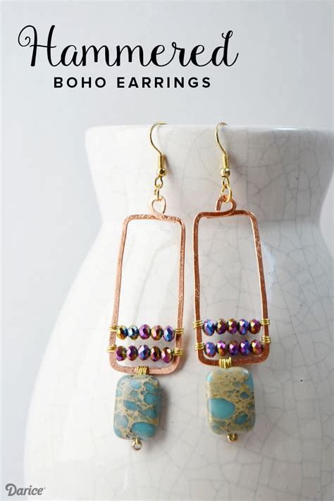 How To Make Handmade Earrings - handmade earrings boho style hammered copper darice