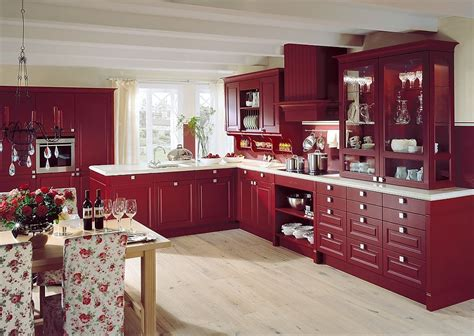 Kitchen Theme Ideas by L Form K 252 Che Im Landhausstil In Weinrot