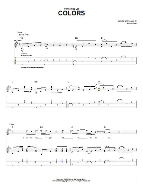 amos colors lyrics colors by amos guitar tab guitar instructor