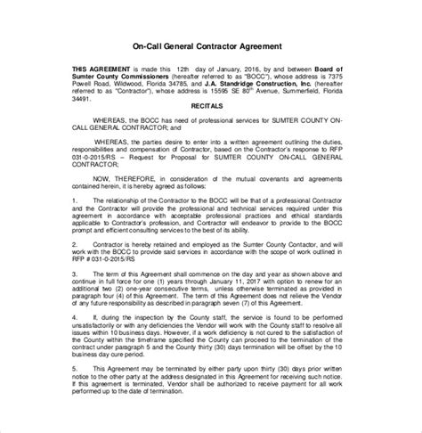 template for contractor agreement contractor agreement template 13 free word pdf