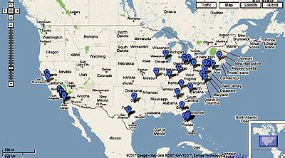theme park insider's google map of all top u.s. theme parks