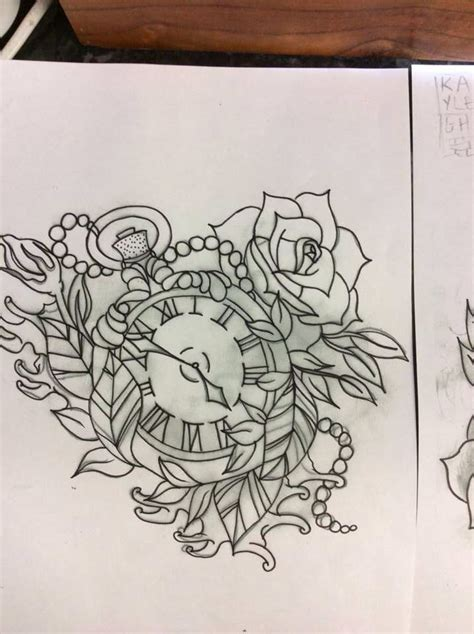 pocket watch and rose tattoo design pocket and design for an arm done in
