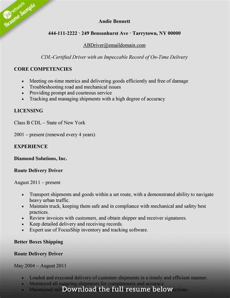 Delivery Driver Resume by How To Write A Delivery Driver Resume With Exles The