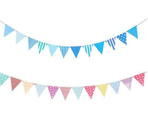 Flag Banner Anniversary Pink Dan Blue 1set blue pink paper board bunting pennant flags banner garland for baby shower birthday
