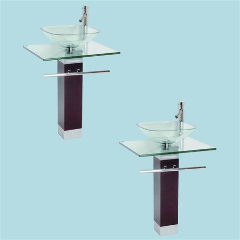 Chrome Sink by 2 Tempered Glass Pedestal Sink Chrome Faucet Towel Bar And