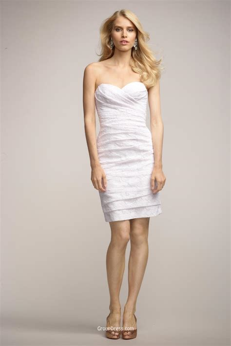 draped strapless sweetheart short cocktail