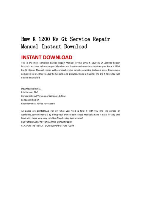 service repair manual free download 2009 bmw 1 series parental controls bmw k 1200 rs gt service repair manual instant download