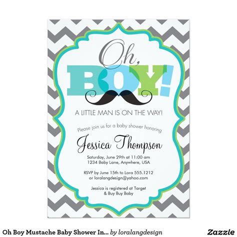 Baby Invitations by Oh Boy Mustache Baby Shower Invitation 5 Quot X 7 Quot Invitation