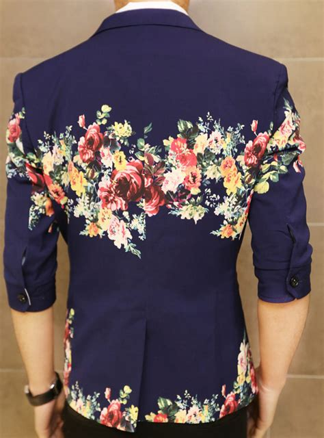 floral print navy blue in style sleeve blazer