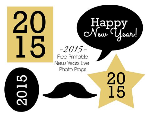 printable new years eve photo booth props 2016 free printable happy new year 2015 photobooth props