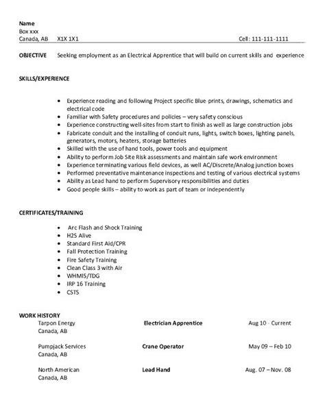 Resume Objective Exles Electrician Apprentice Resume Sle Electrical Apprentice College To Career Resume Writing
