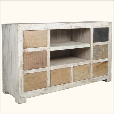 reclaimed rustic wood 8 drawer shelf tv stand media