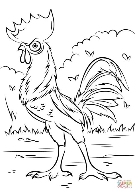 coloring pages disney moana heihei rooster from moana super coloring moana free