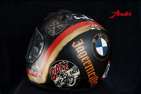 helmdesign bmw helmdesign im used look f 252 r cafe racer in schwarz rot gold