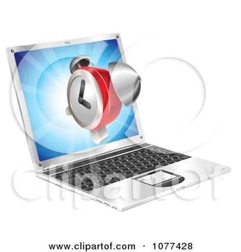 clipart  alarm clock floating   laptop computer