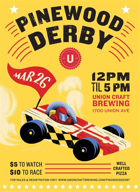 pinewood derby flyer template union craft brewing 2017 union pinewood derby union