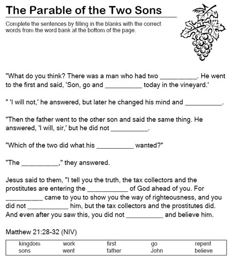 The Parable Of The Two Sons Fill In The Blanks