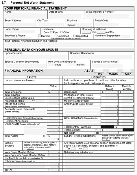 personal financial statement form sle personal financial statement form mfacourses719