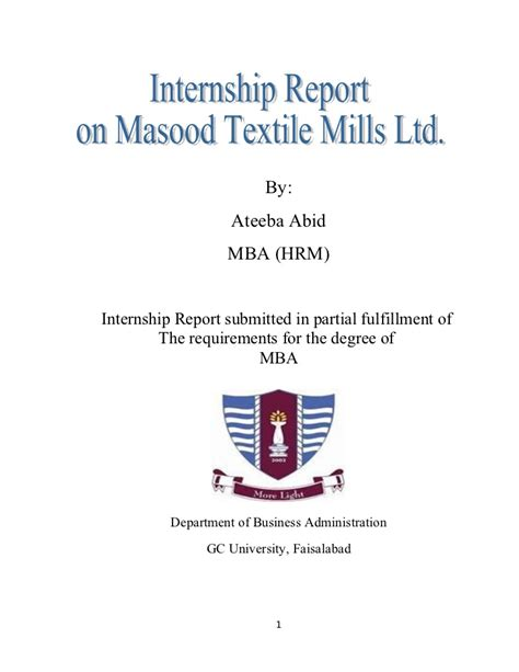 Internship Report Format For Mba Hrm by 53129310 Mtm