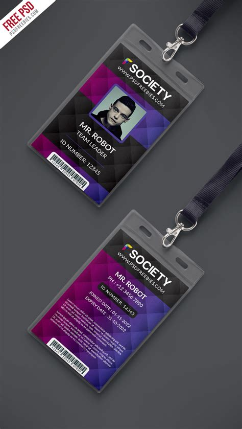 employee id card template free behance free psd corporate office id card psd template on behance