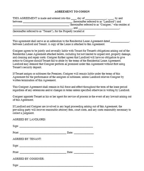 Download Free Agreement To Cosign Printable Lease Agreement Cosigner Contract Template