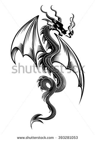 winged dragon tattoo designs silhouettes editable stock vector 13500979