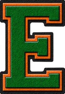 presentation alphabets green orange varsity letter e