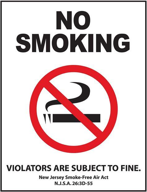 no smoking signs health act 2006 zig1856d new jersey no smoking signs