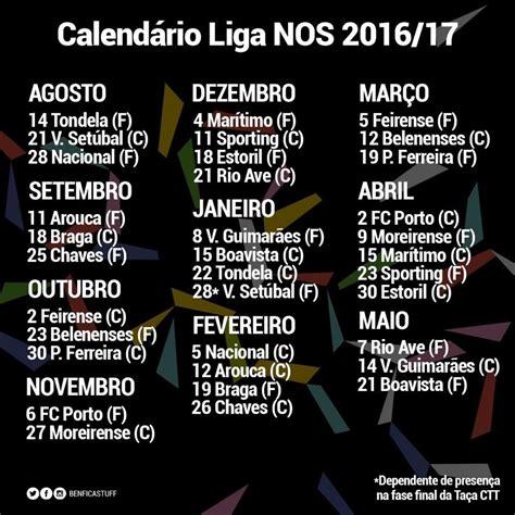 Calendario Benfica Calend 225 Benfica Liga Nos Pass