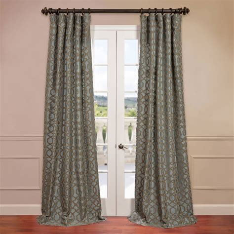 curtains 120 inches filigree blue 50 x 120 inch flocked curtain half price