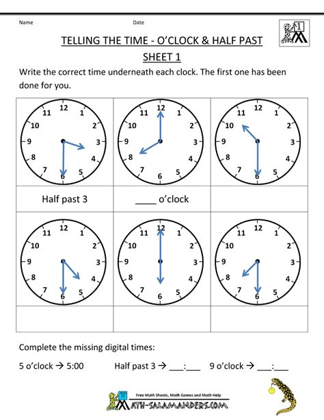 clock worksheets quarter past telling time worksheets o clock and half past