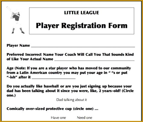 sports registration form template 5 sports registration form template free fabtemplatez