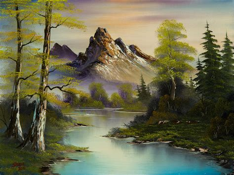 bob ross drawing painting mountain evening painting by c im 225 genes so 241 adas