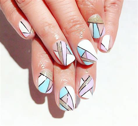 geometric pattern nail art geometric nail art beautiful design with tutorial ladylife