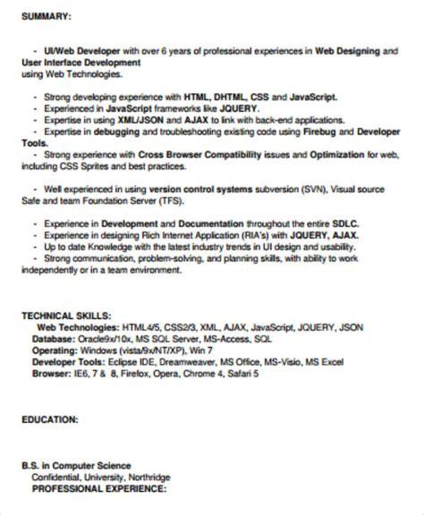 Ui Developer Resume Pdf by 7 Sle Front End Developer Resumes Sle Templates