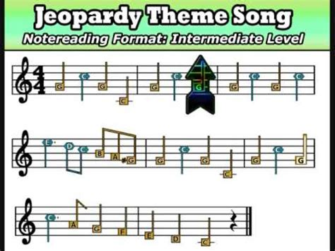 Quot Jeopardy Quot Theme Quot Noteread Music W Shapes Colors On Jeopardy Theme Song Free